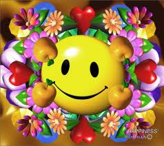 happiness button and flowers