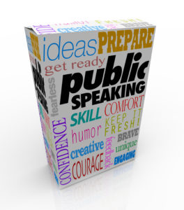 Public Speaking words on a box for training to give a big speech